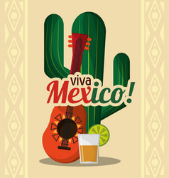 viva mexico - cactus guitar and drink tequila vector image vector image