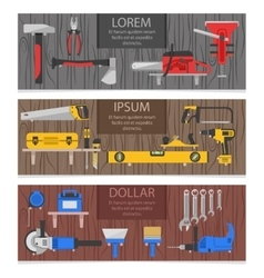 Work Tools Horizontal Banners Set vector image