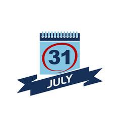 31 july calendar with ribbon vector