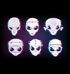 Alien faces or heads with digital glitch effects vector