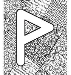 Ancient scandinavic rune wunjo with doodle vector