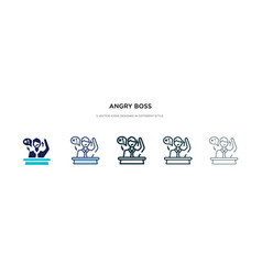 Angry boss icon in different style two colored vector