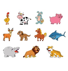 Animals cartoon collection vector