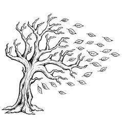 autumn tree theme image 2 vector image