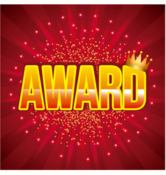 award golden crown and bright red background vector image