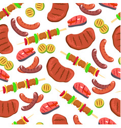 barbecued set seamless pattern vector image