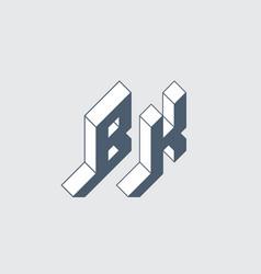 Bk - 2-letter code or logo b and k - monogram vector