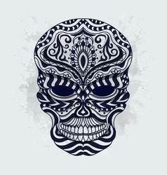 black and white stylized skull zentangle vector image