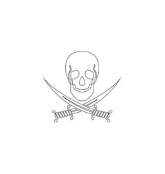 black skull with crossed sabers flat icon vector image