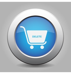 Blue button - shopping cart delete vector