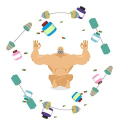 Bodybuileder meditates Fitness yoga body-builder vector