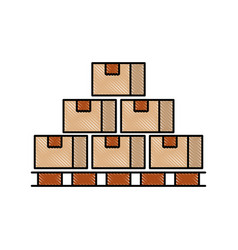 Boxes on wood pallet closed carton delivery vector