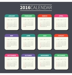 Calendar template for 2016 vector image