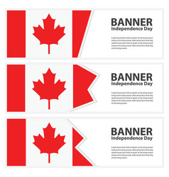 Canada flag banners collection independence day vector
