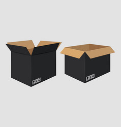 Cardboard open black box side view package design vector