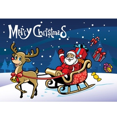 Cheerful santa claus and the happy deer vector image