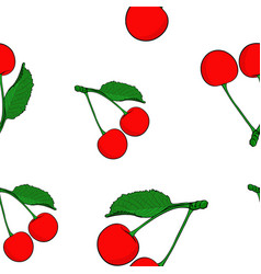 cherries colored hand drawn sketch seamless vector image