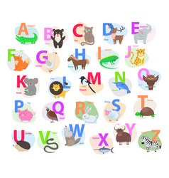 children abc with cute animals cartoon flat vector image