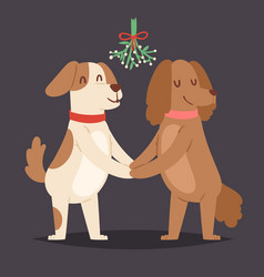 Christmas dog love valentine day couple vector