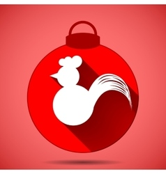 Christmas icon with the silhouette of a rooster on vector