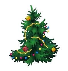 Christmas tree with decorations isolated vector