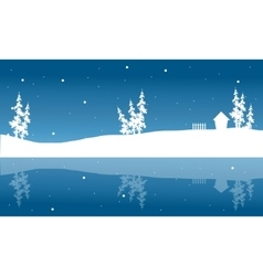 Christmas winter scenery of silhouette and vector image