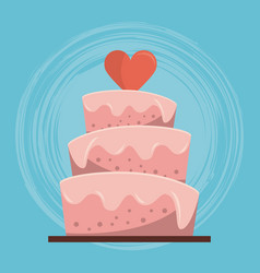 Colorful background of wedding cake with heart on vector