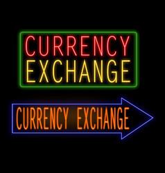 Currency exchange glowing neon sign vector