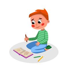 cute boy drawing in notebook kids good behavior vector image