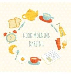 Cute morning breakfast frame vector