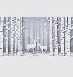 Deer in forest with snow vector
