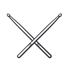 Doodle crossed drumsticks vector