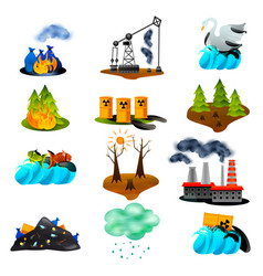 Ecological problems flat icons vector