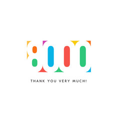 eight thousand subscribers baner colorful logo vector image