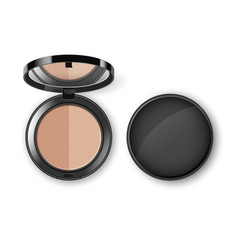 face cosmetic makeup powder in case with mirror vector image