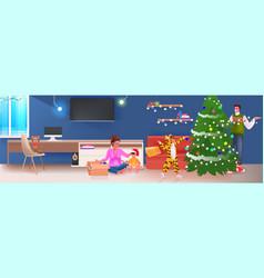family decorating christmas tree merry xmas happy vector image