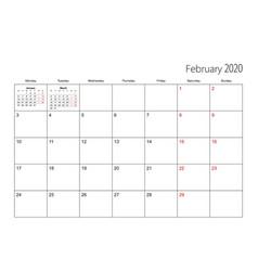 February 2020 simple calendar planner week starts vector