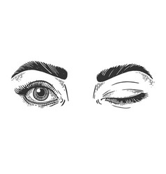 Female winking eyes sketch engraving vector