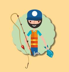 fishing people cartoon vector image