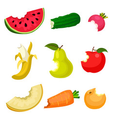 flat set of bitten fruits and vegetables vector image