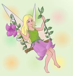 Flower fairy girl on swing vector