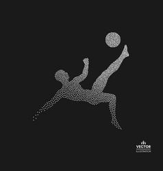 Football player with ball dotted silhouette of man vector