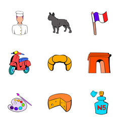 french republic icons set cartoon style vector image