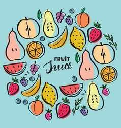 fruit set collection juicy fruits apple pear vector image
