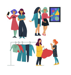 Girlfriends pastime together art gallery and vector
