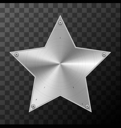 Glossy metal industrial plate in star shape on vector