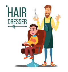 Hairdresser and child teen doing client vector