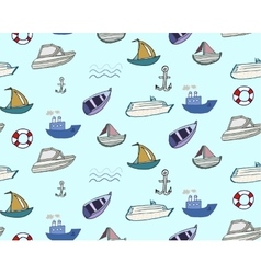Hand-drawn doodle-style ships and boats seamless vector
