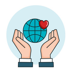Hands with world love heart symbol peace vector