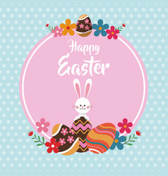 happy easter rabbit egg floral dots background vector image